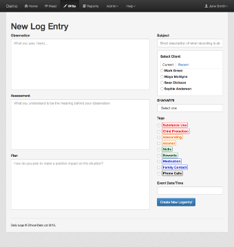 Screenshot of creating a new log entry